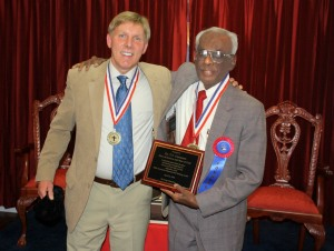 Bill Rudge with ministry supporter and friend, Dr. T.V. Oommen, in 2010.
